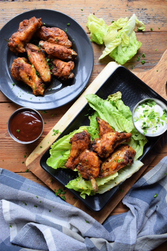 Chicken wings on a table setting