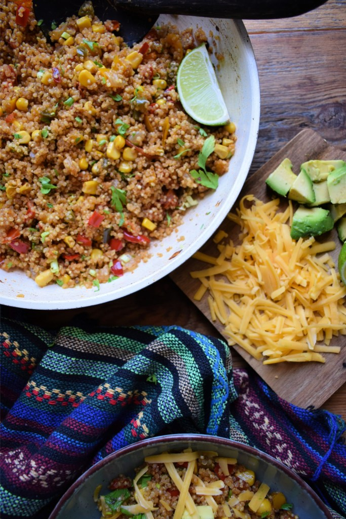 Southwestern Quinoa with toppings on the side
