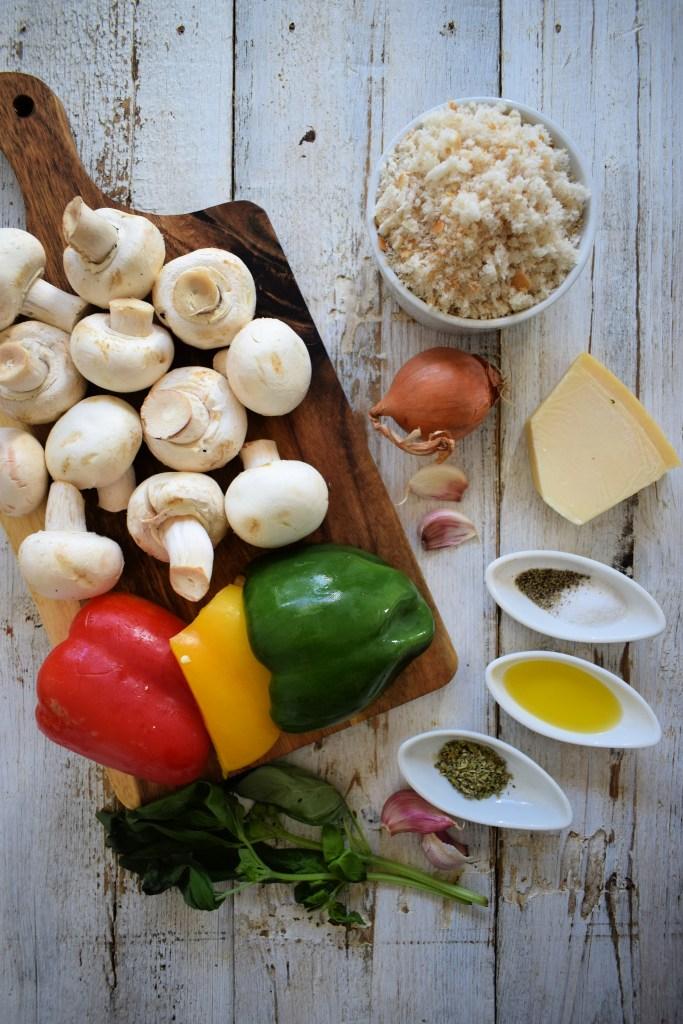 ingredients to make the Italian stuffed mushrooms