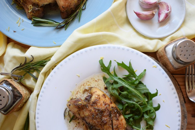 table setting of slow cooker lemon and rosemary chicken