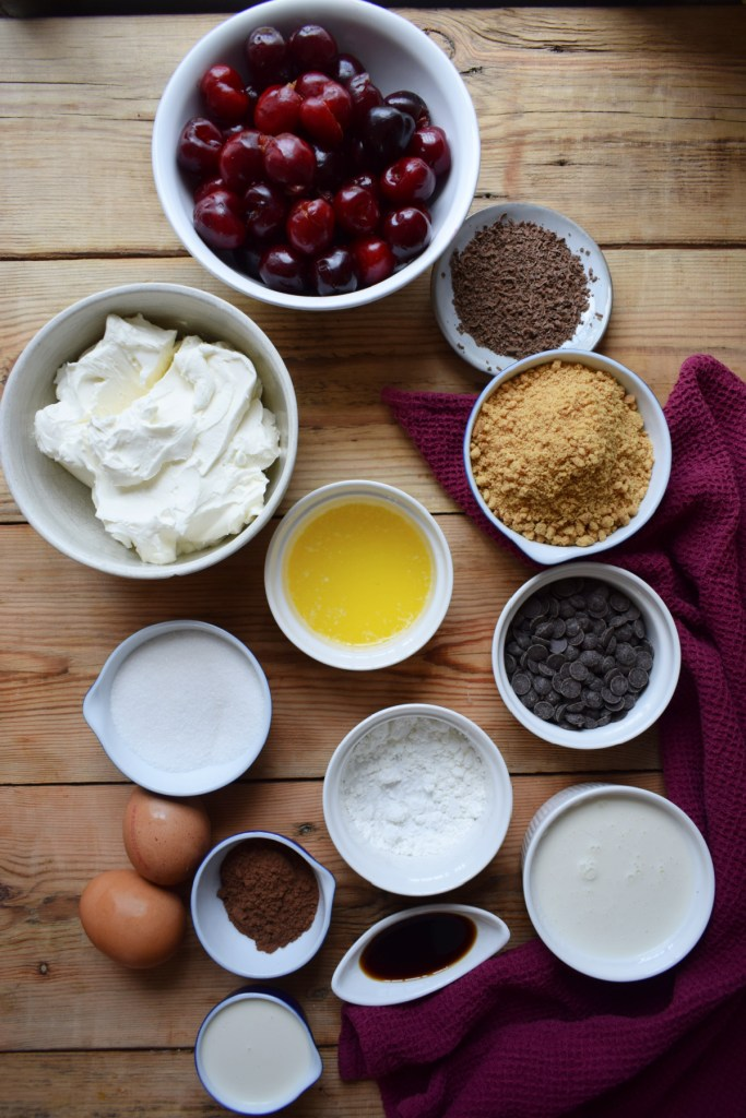 Ingredients to make the mini black forest cheesecakes