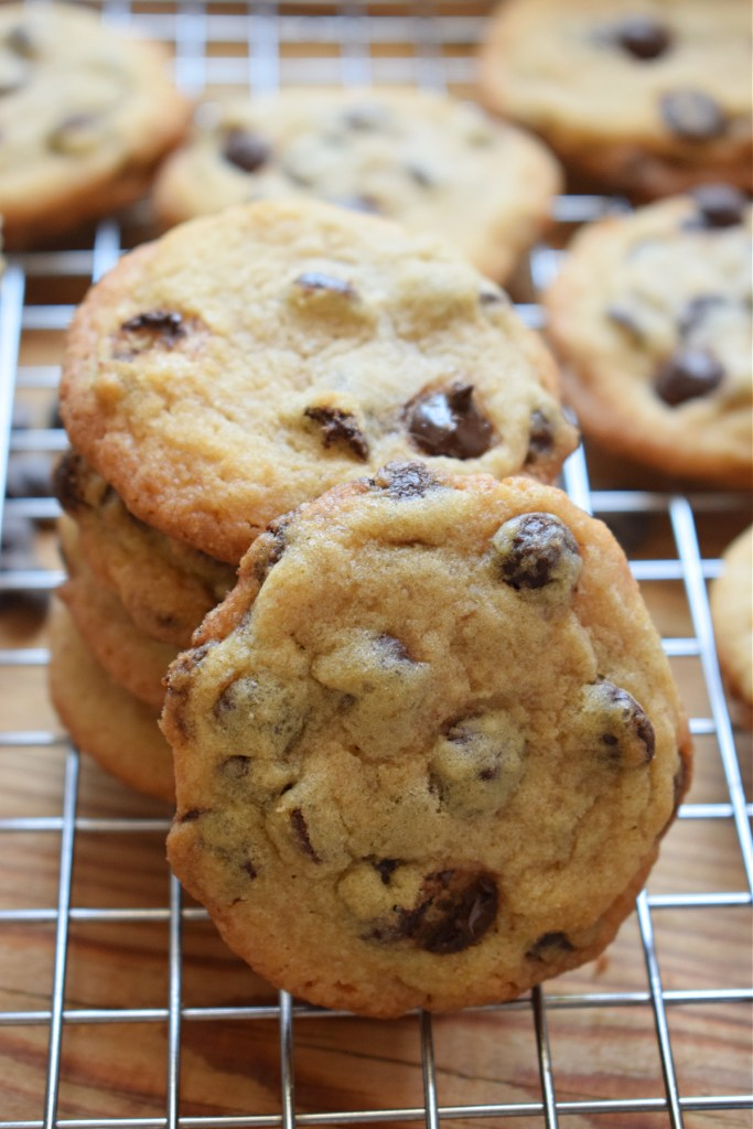 a stack oi chocolate chip cookies