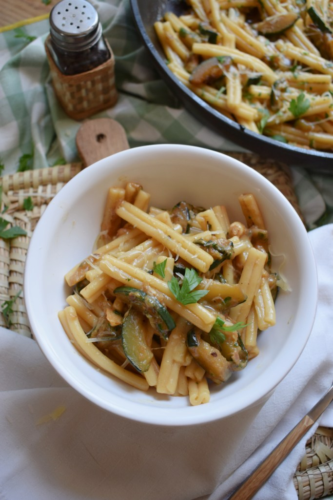 Gruyere Cheese and Zucchini Pasta Dish in a bowl