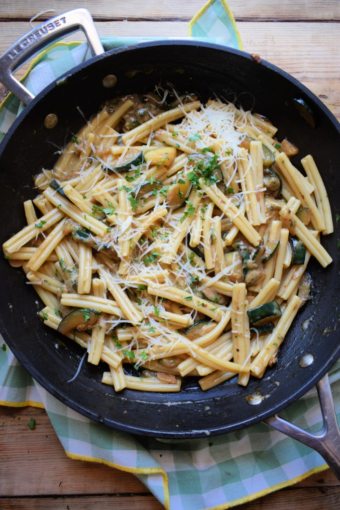 Gruyere cheese and pasta dish in a skillet
