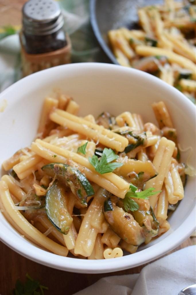 Gruyere Cheese and Zucchini Pasta in a bowl