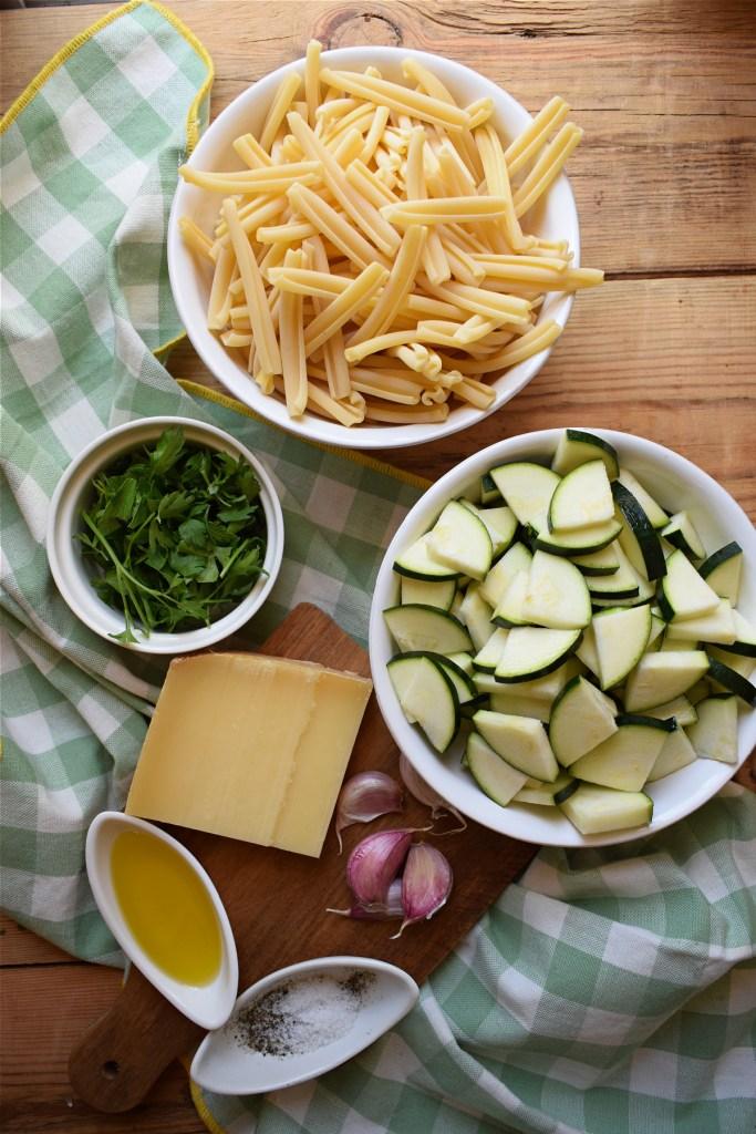 Ingredients to make the Gruyere Cheese and Zucchini Pasta Dish