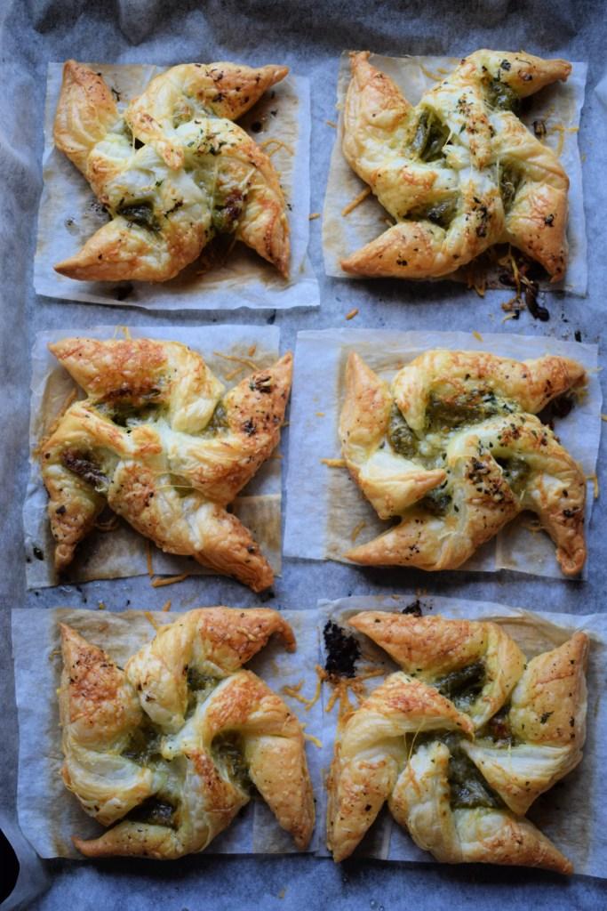 Pesto Pastries on a baking sheet