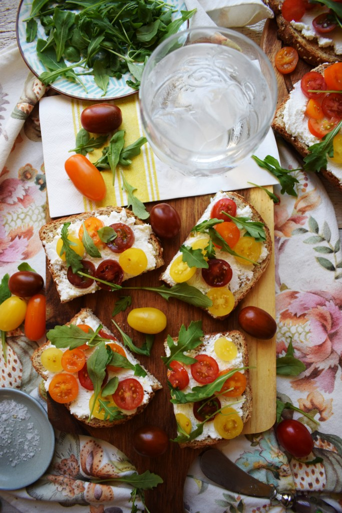over head table setting view of the ricotta and tomato toast recipe