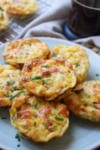 bell pepper and egg breakfast muffins on a plate