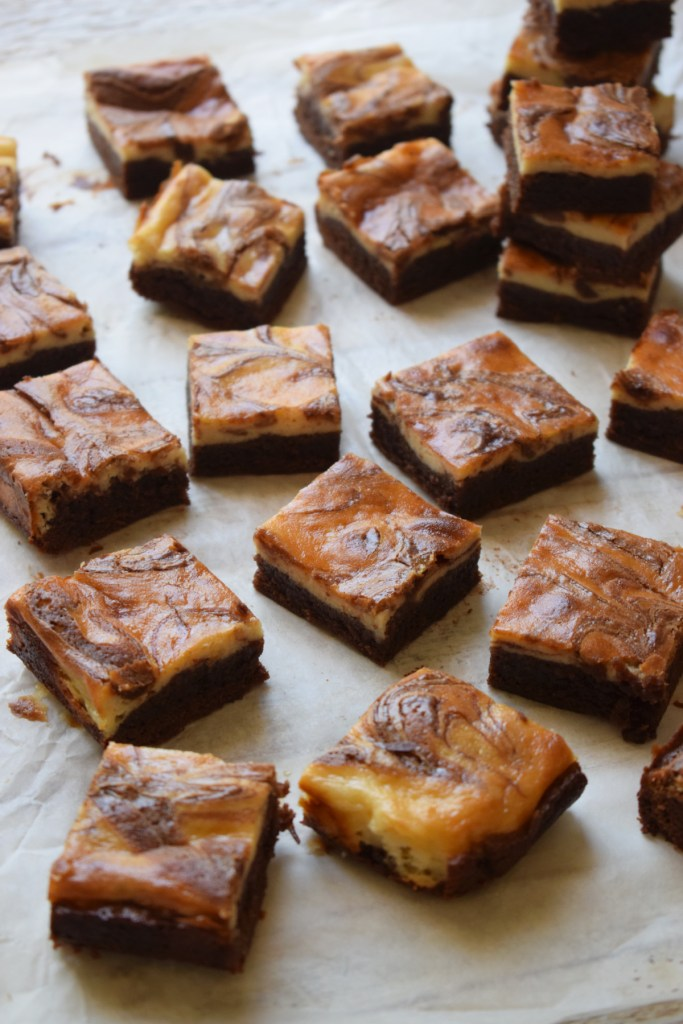 Cream Cheese Brownies cut into little squares