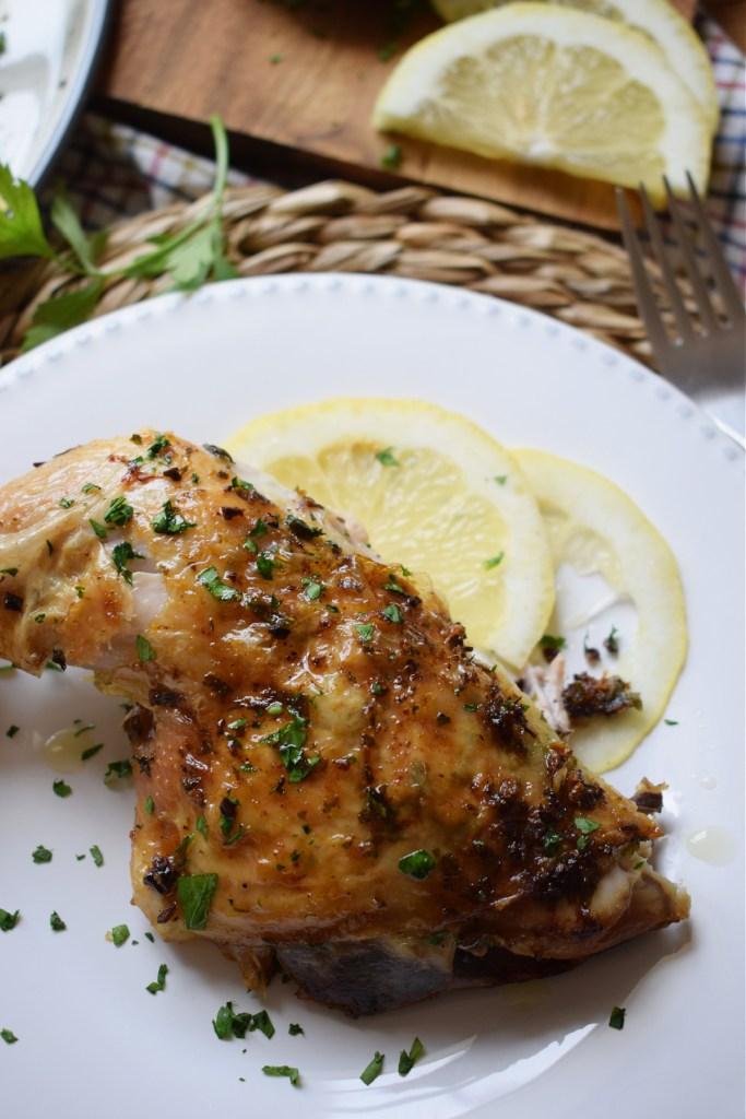 chicken leg on a plate