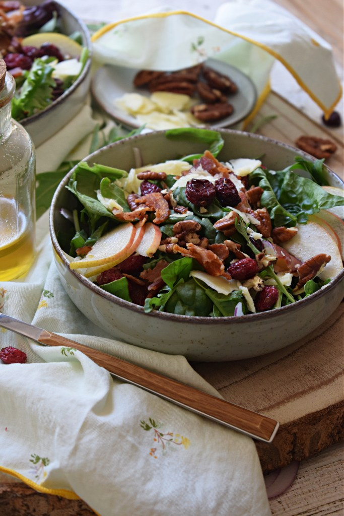 close up of the pear and pecan salad recipe