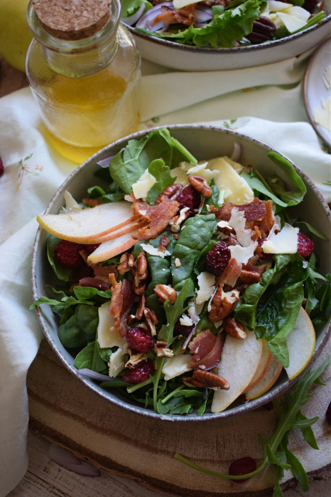 close up of the pear and pecan salad