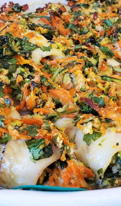 STUFFED FLOUNDER FILLETS WITH CARROTS AND ZUCCHINI