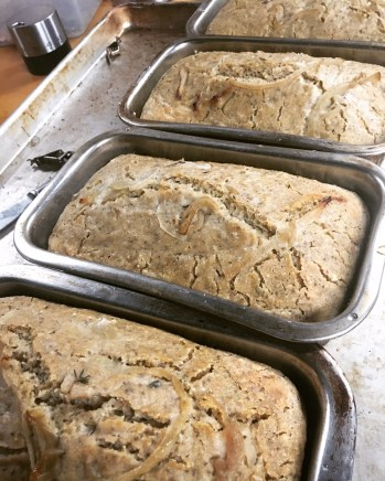 caramelized onion and herb sourdough loaves