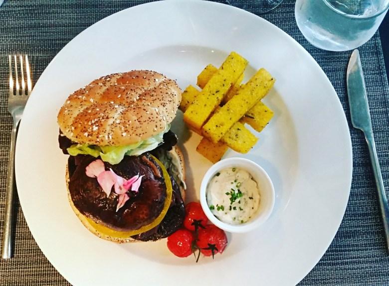 Vegan burger in a gourmet restaurant