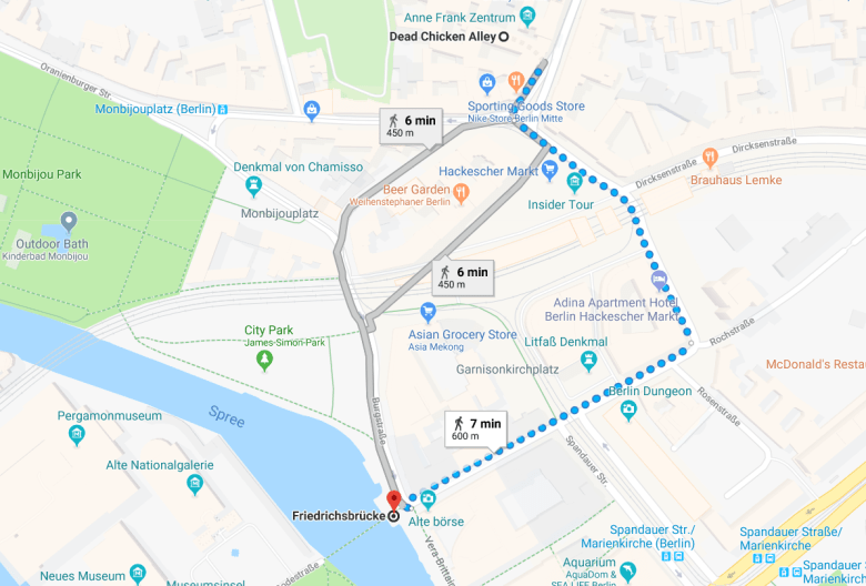 friedrichsbrucke map Berlin self guided walking tour