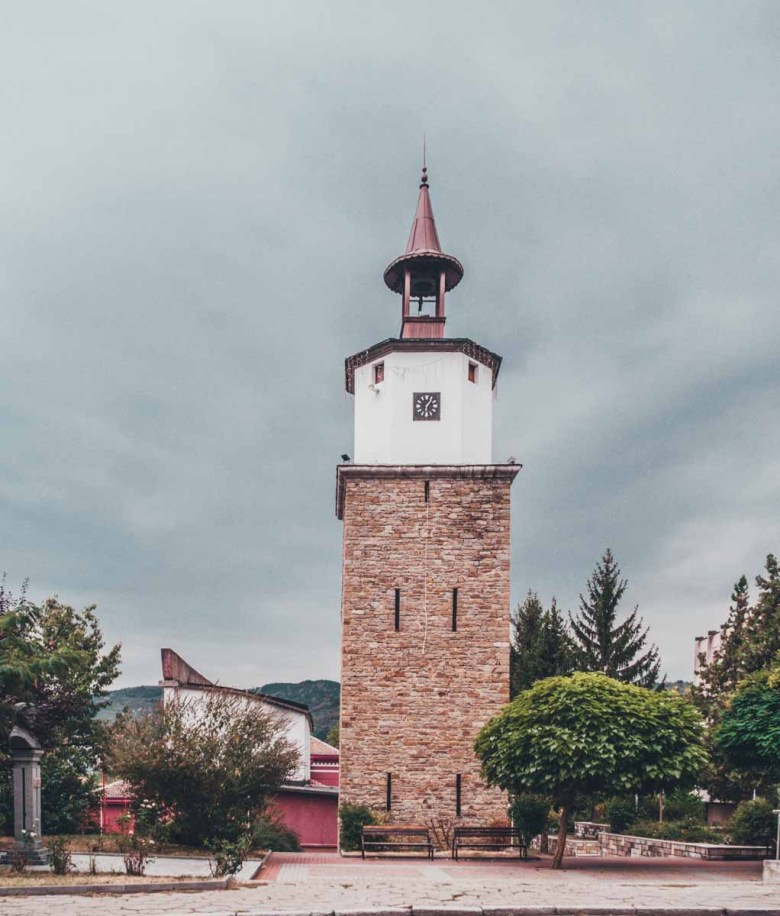 the clock tower Discover Dryanovo on a day trip from Veliko Tarnovo, Bulgaria