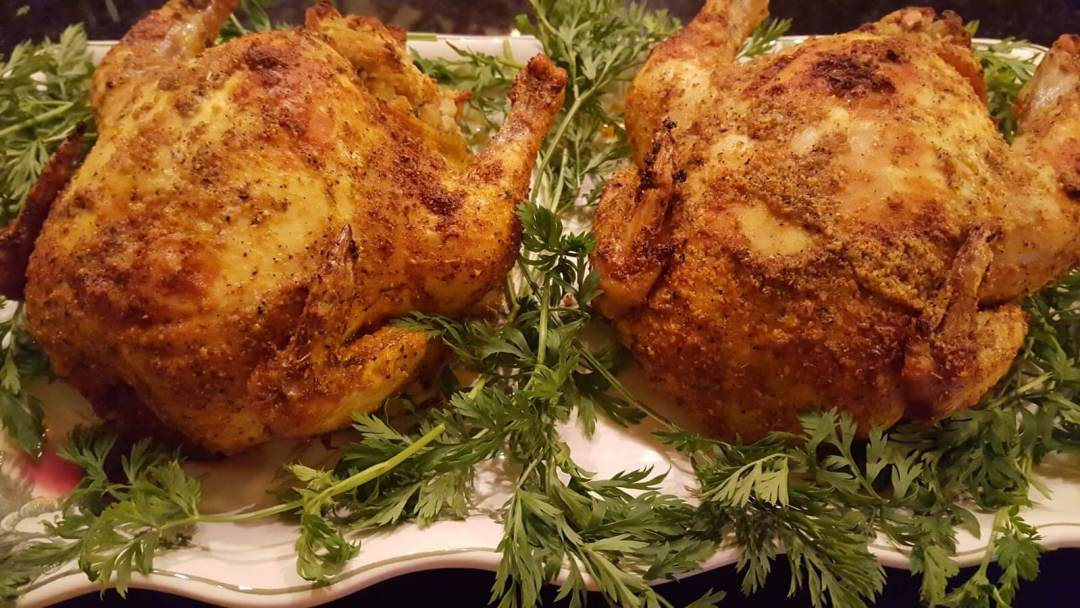 Roasted Game Hens with stuffing