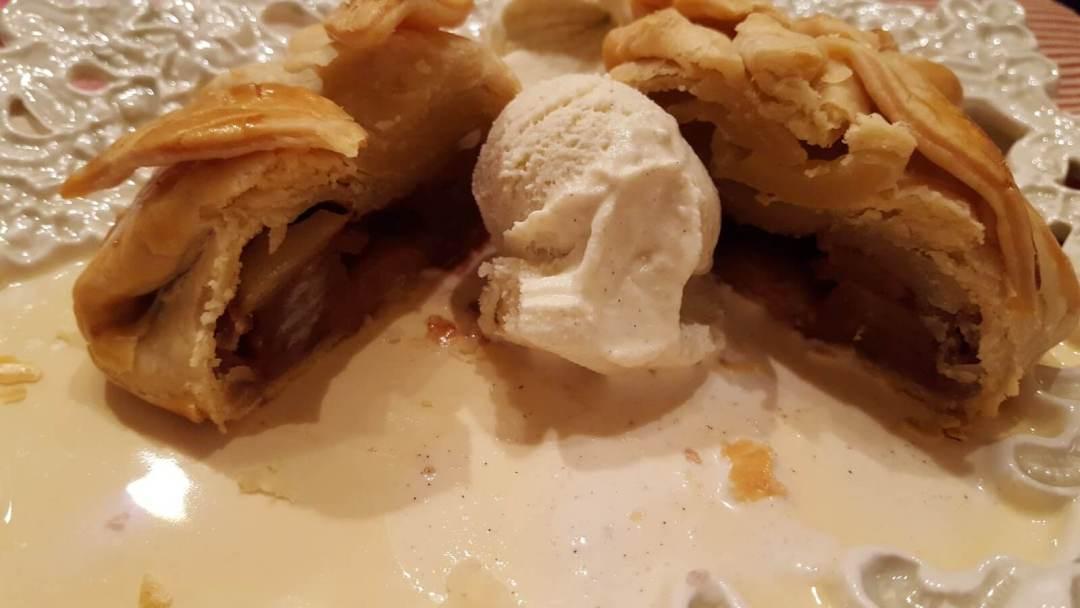 Apple dumpling with vanilla ice cream