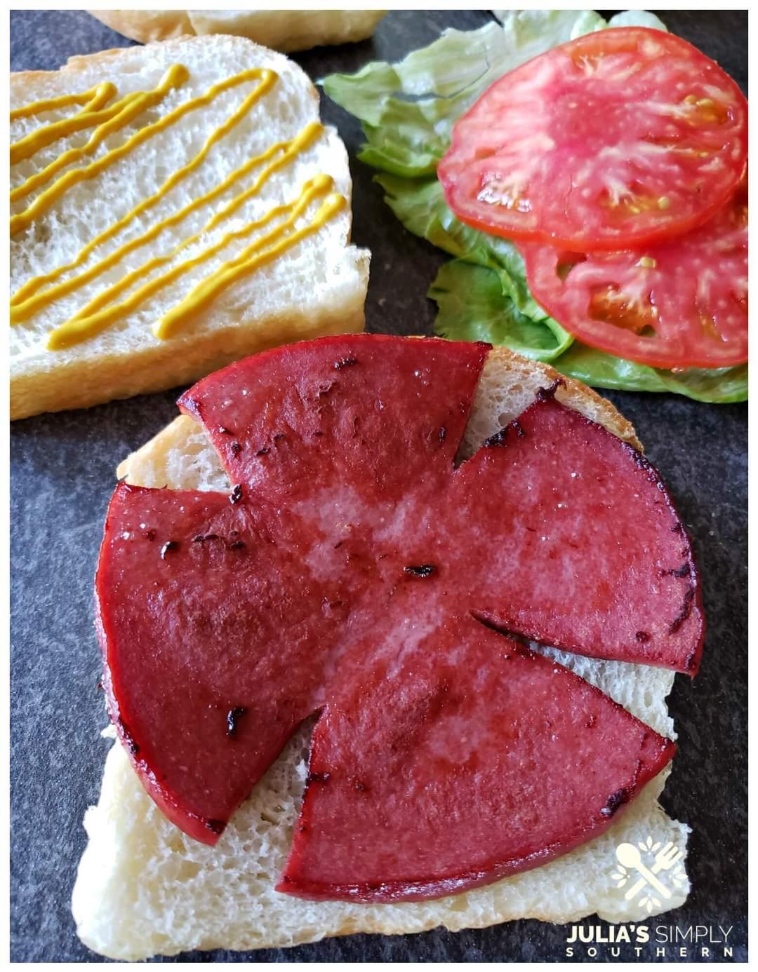 Homemade fried bologna sandwiches