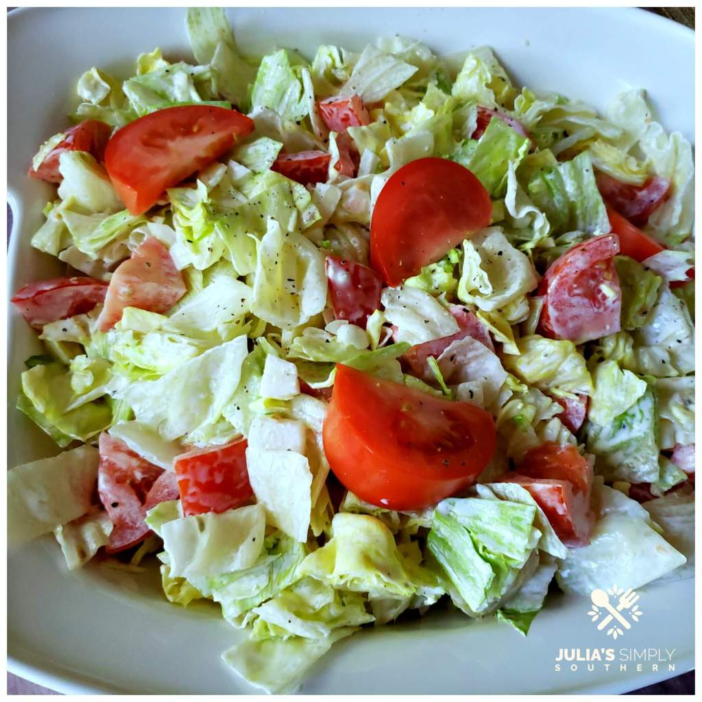 Lettuce and Tomato Salad with Mayo - Julias Simply Southern