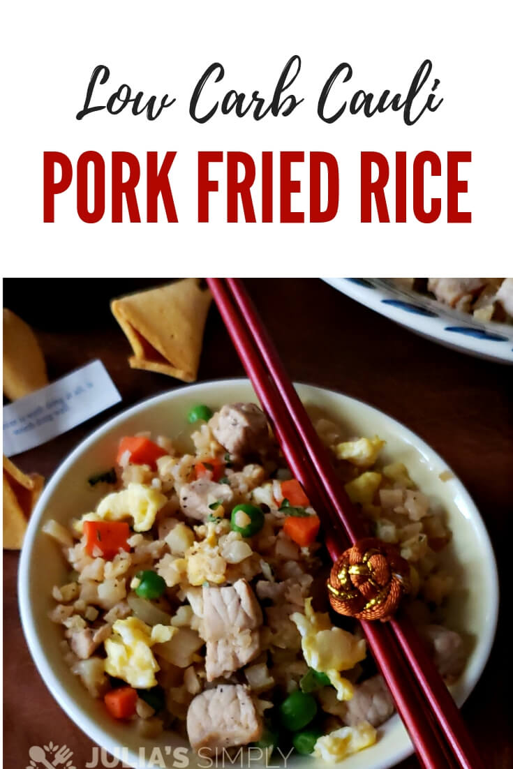 Are you searching for healthy fried rice recipes? Try this Low Carb Cauliflower Pork Fried Rice, it's the best. Delicious, healthy and easy to make. No one will know it's not rice. #healthy #easyrecipes #friedrice #caulirice #lowcarb #ketofriendly