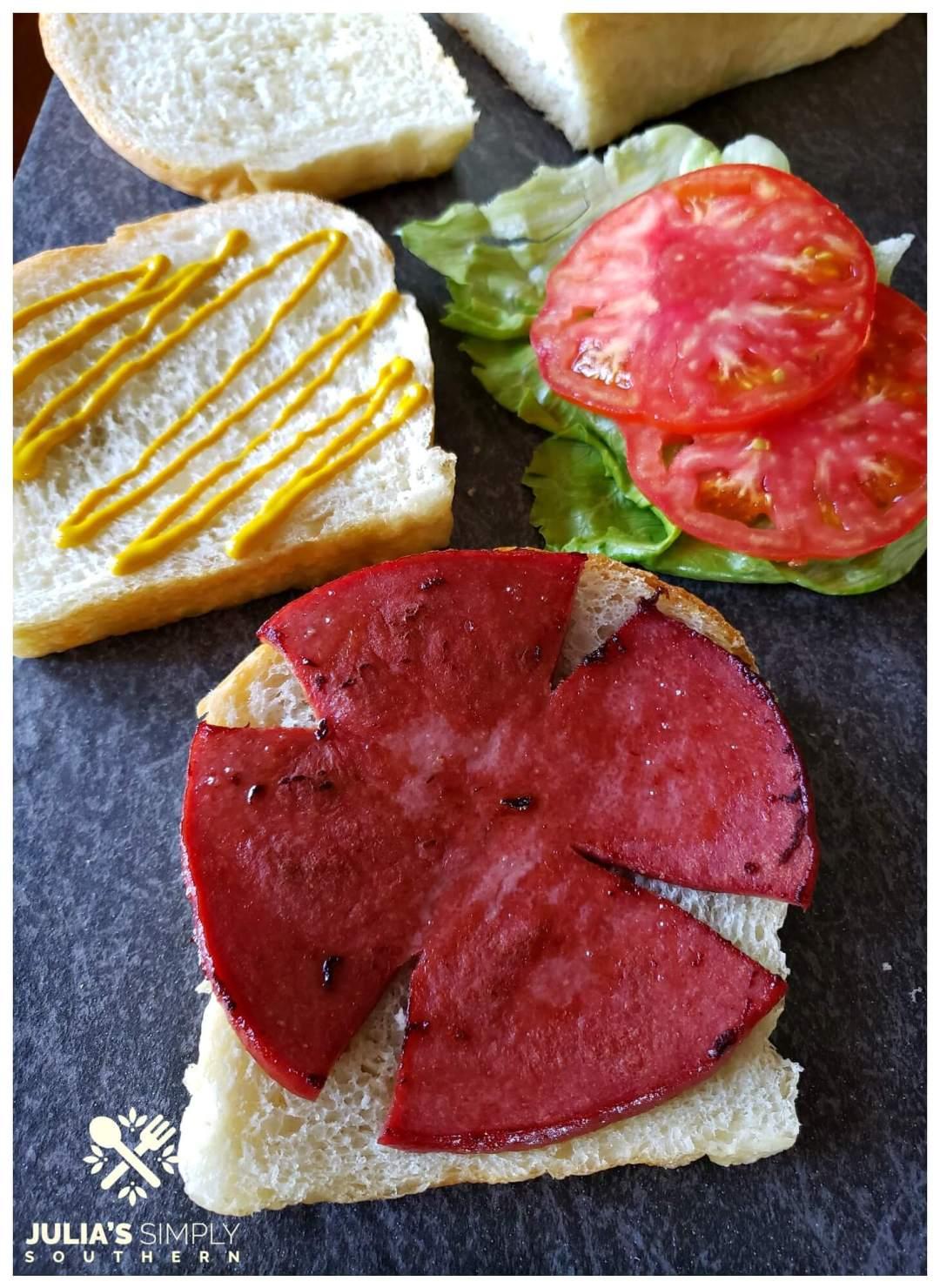 Gourmet fried bologna sandwich