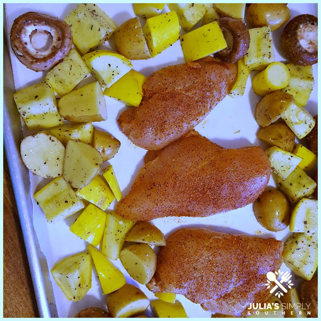 Healthy and delicious chicken sheet pan meal - preparing for the oven