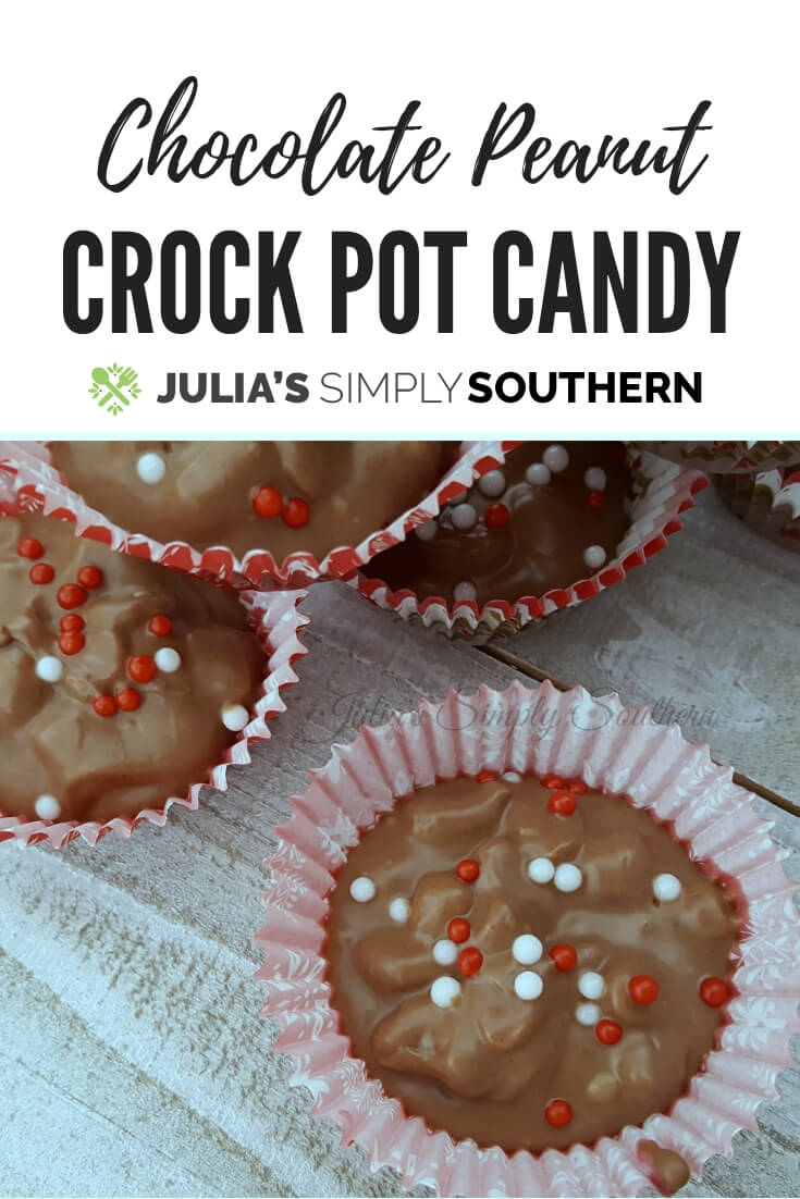 Christmas Crock Pot Candy - Chocolate and Peanut Butter with Peanuts - #easy #FoodGifts #Christmas #Treats | Julia's Simply Southern