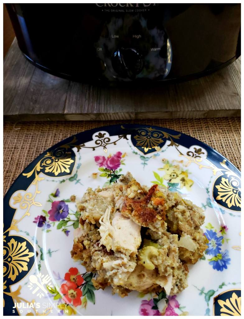 Soul food chicken and dressing recipe for the Crock Pot