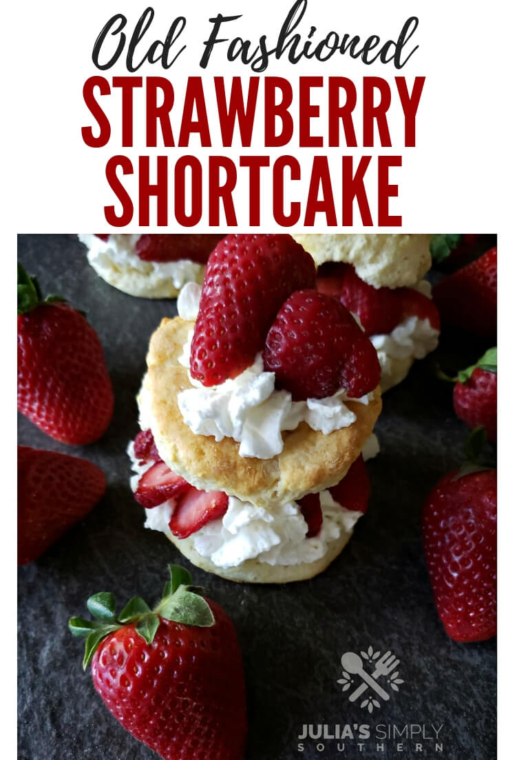 Easy old fashioned strawberry shortcake recipe, a classic dessert made with fresh strawberries, whipped cream and flaky biscuit like shortcakes #spring #strawberries #strawberrydessert #strawberryshortcake
