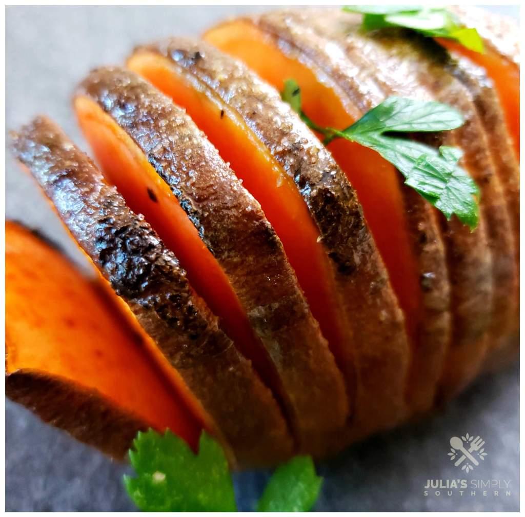 Beautiful Hasselback sweet potato side dish recipe