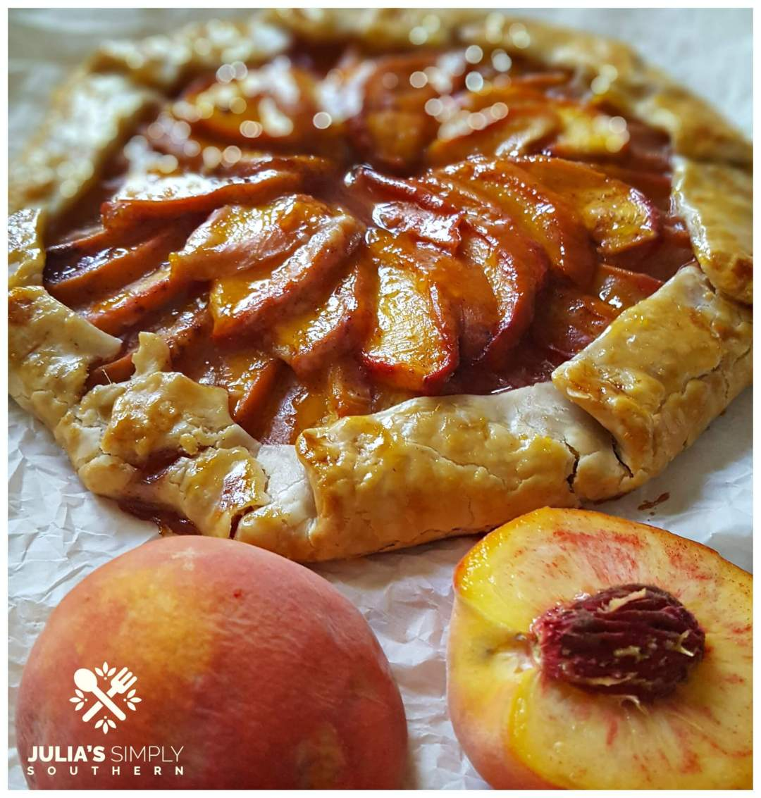 tree ripened peach dessert using pie crust
