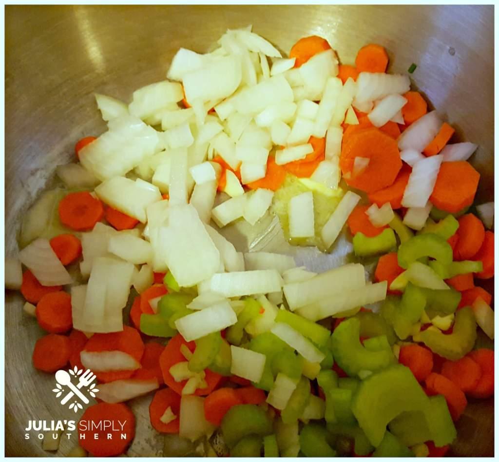 Diced Vegetables for pumpkin soup