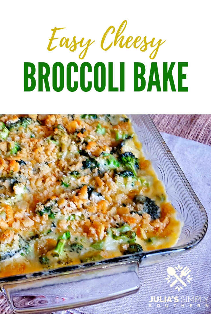 Easy Cheesy Broccoli Baked Side Dish, an easy casserole with fresh broccoli and a creamy homemade cheese sauce topped with crunchy bits of butter crackers #SideDish #Vegetable #EasyRecipe