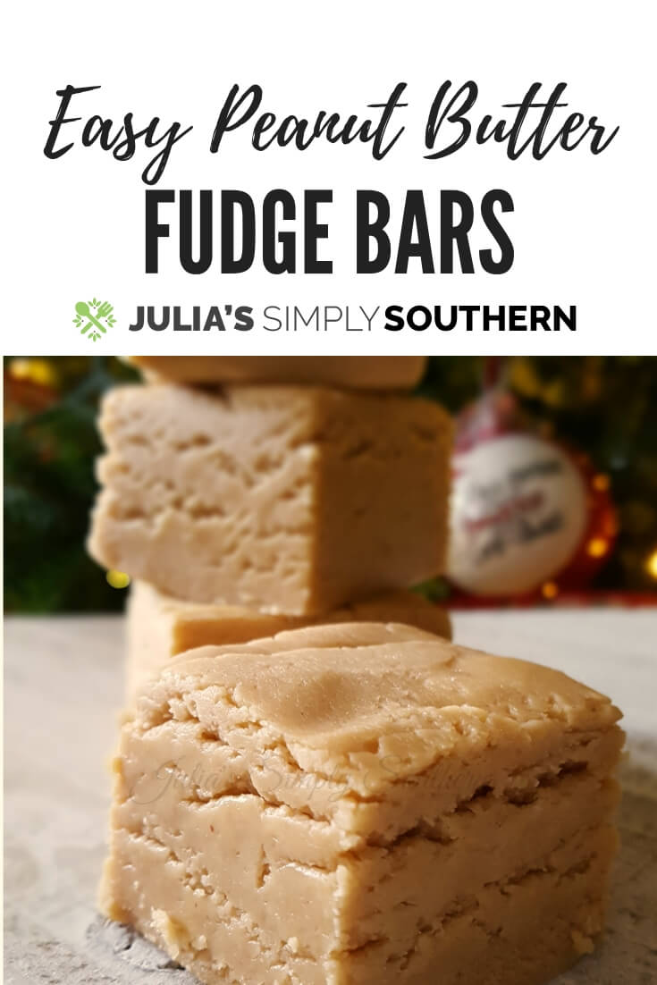 Easy Peanut Butter Fudge Bars - A perfect Christmas treat #FoodGift #Holidays | Julia's Simply Southern