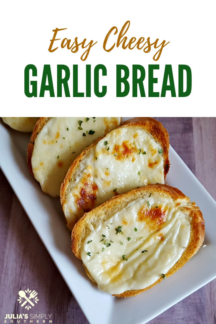 Easy cheesy delicious garlic bread, the perfect side for a spaghetti dinner at home. It takes just minutes to make this homemade garlic cheese toast that the whole family will love! #cheesebread #garlictoast #spaghettidinner