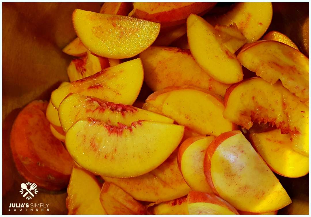 Freshly sliced red globe free stone peaches