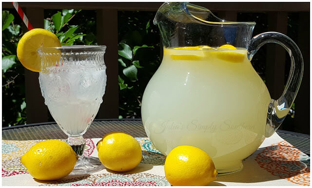 Freshly Squeezed Homemade Lemonade in a glass pitcher