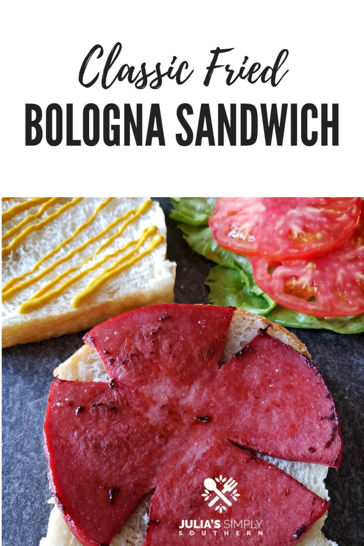 Old fashioned fried bologna (baloney) sandwich on squishy white bread. A classic favorite sandwich for lunch or dinner. #sausage #sandwiches #baloney #bologna #SouthernFood