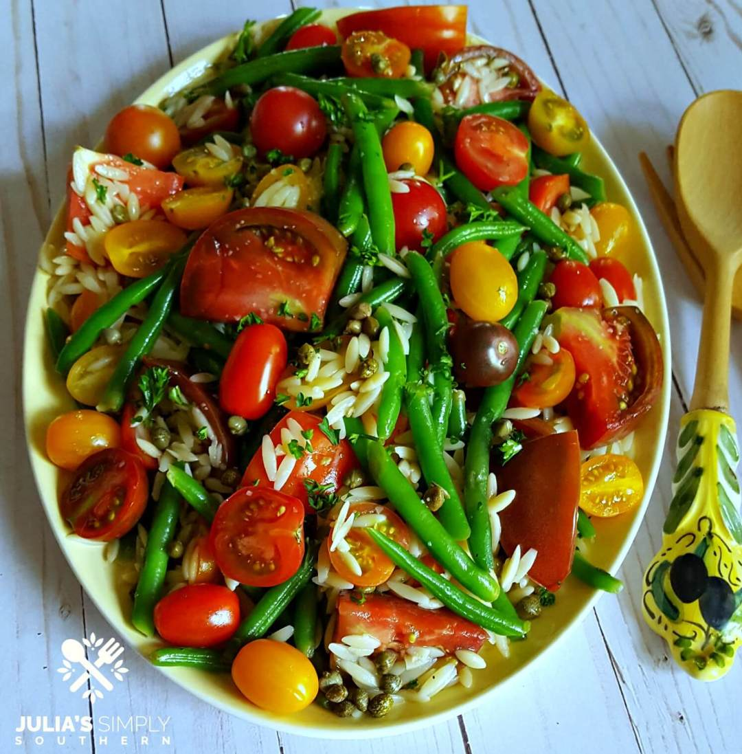 Green Bean and Tomato Salad with Orzo dressed in a light lemon dressing