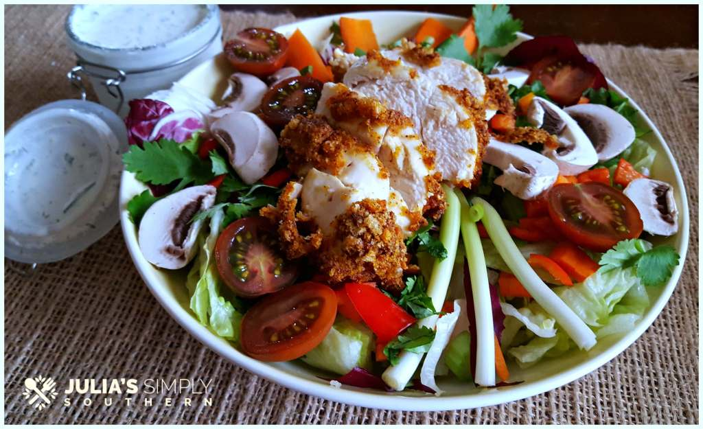 Air fried healthy low carb chicken dinner salad with homemade ranch dressing