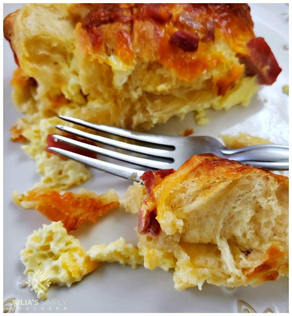 Delicious breakfast casserole recipe with country ham, cheese and biscuits