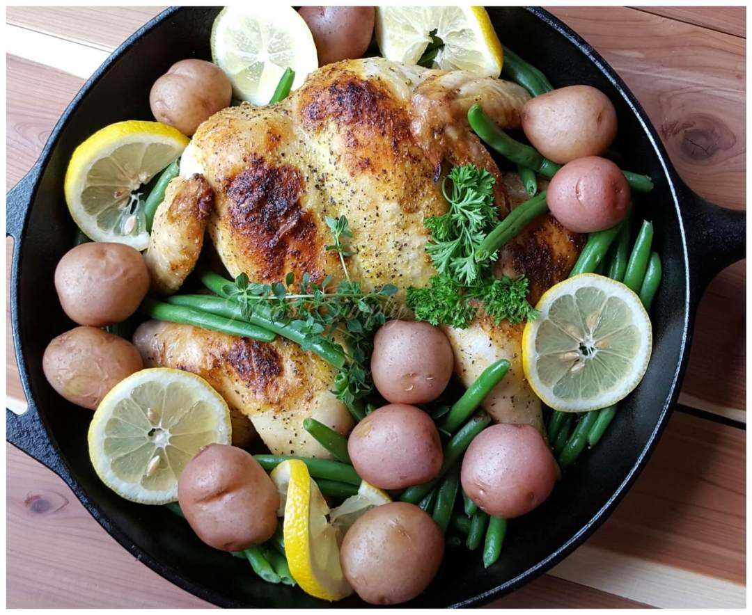 Lemon Pepper Spatchcock Chicken with red potatoes and green beans