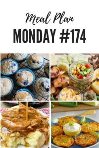 Free meal planning recipes at Meal Plan Monday 174 where you'll find over 100 great recipes - including crock pot pork chops, black eyed pea salsa, blueberry oatmeal muffins, and corn fritters