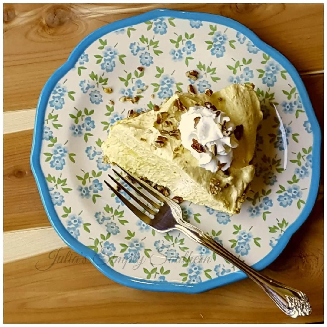 No Bake Pumpkin Pie Dessert on a blue and white plate
