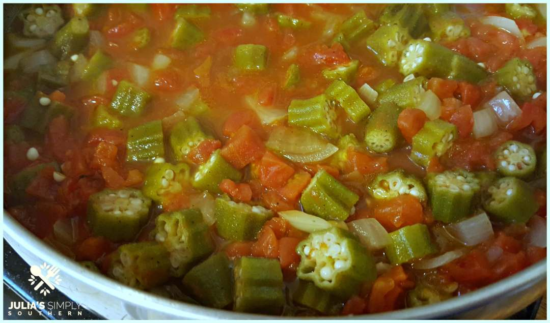 Southern okra and tomatoes cooking