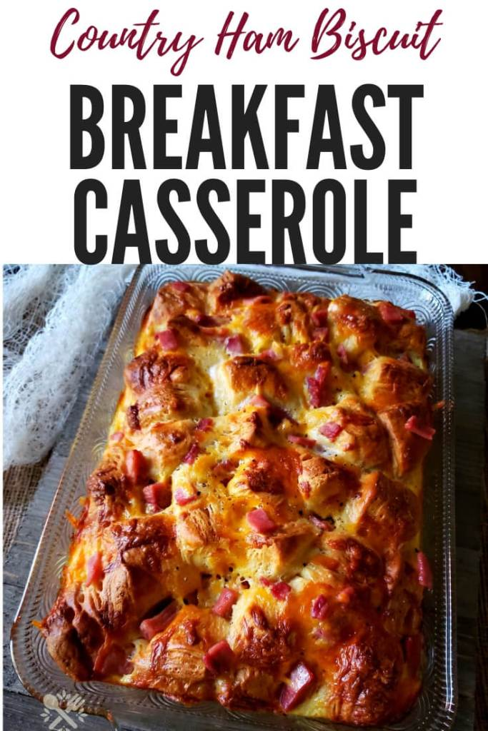 Country Ham Biscuit Breakfast Casserole is a delicious and flavorful meal. Enjoy this breakfast with family and friends on weekends and during the holidays. #breakfast #casserole #countryham #biscuitbreakfastcasserole