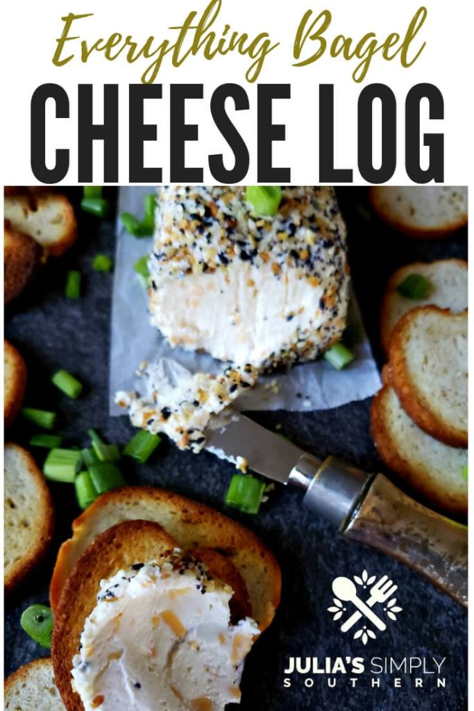 How to make an Everything Bagel Cheese Log appetizer? This zesty cheese ball mixture is a favorite for game day, fall gatherings and holidays. This easy to prepare appetizer is perfect served with bagel chips. #cheeseball #Everythingbutthebagel #appetizers #gameday #fallappetizers #holidayappetizers